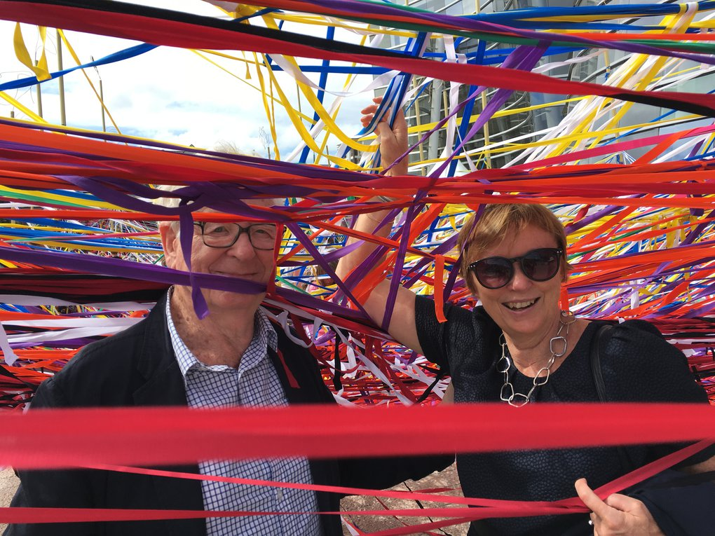 Rob & Sue at Christchurch Art Gallery's 'Tangle' installation