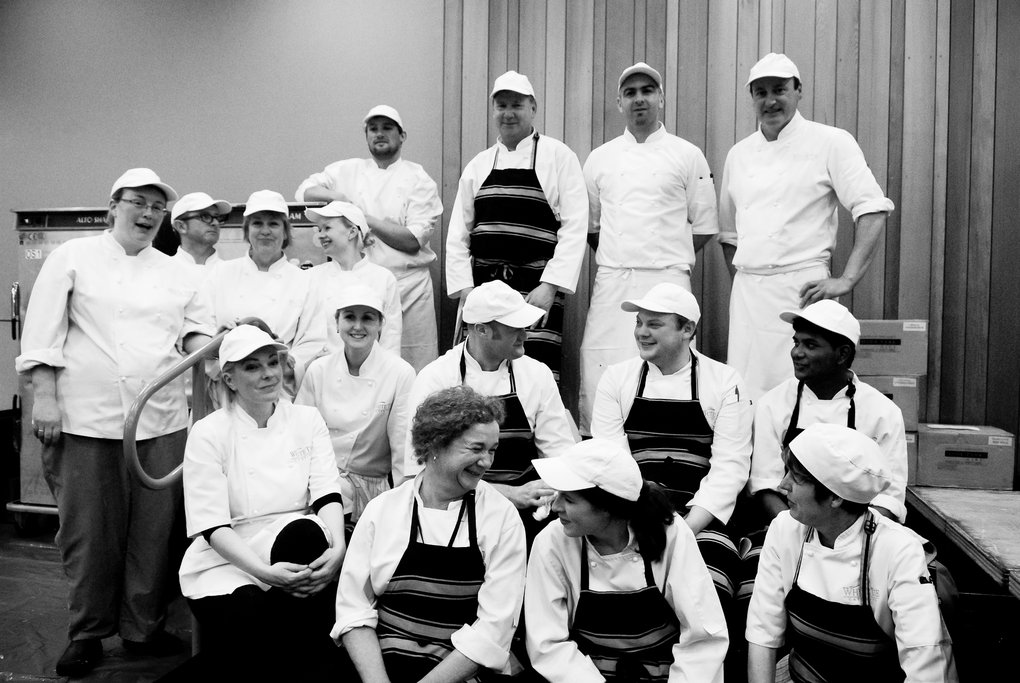 The White Tie Catering team captured in the kitchen.